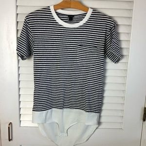 Jcrew Striped Bodysuit Pocket T-shirt